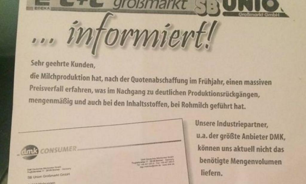 Duitse super waarschuwt klanten voor tekort aan zuivel