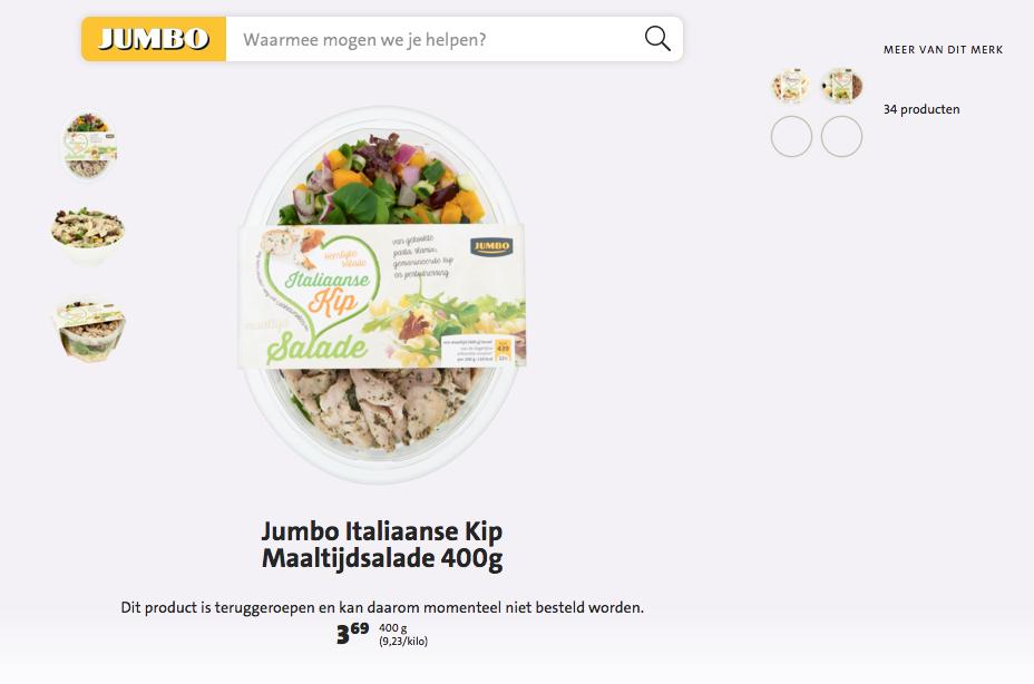 Jumbo haalt salade met rauwe kip terug