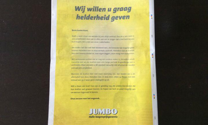 'Bierkrattenoorlog' tussen Jumbo en Heineken