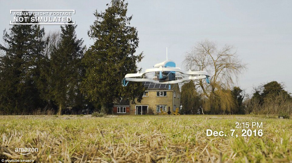 Eerste Britse drone-bezorging Amazon