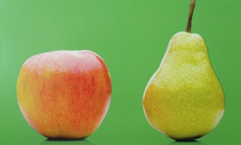 Appels en peren zijn goed te vergelijken maar je moet ze niet drinken