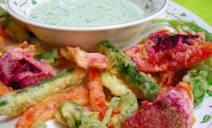Groentetempura met groene mayonaise