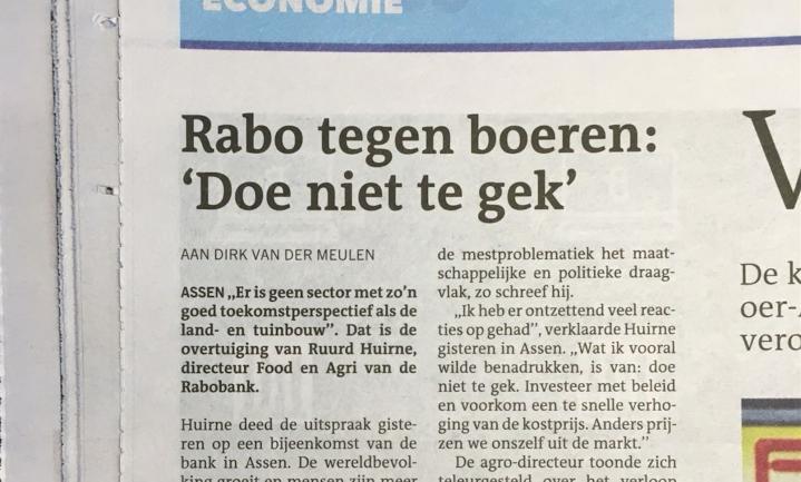 Boer moet normaal gaan doen, vindt Rabo