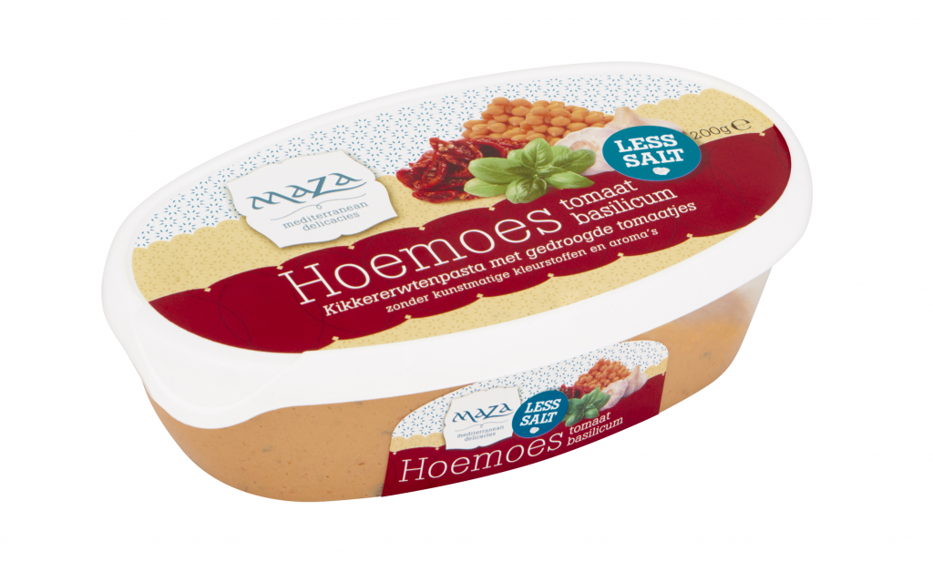 Maza Hoemoes met gedroogde tomaatjes en basilicum, en minder zout