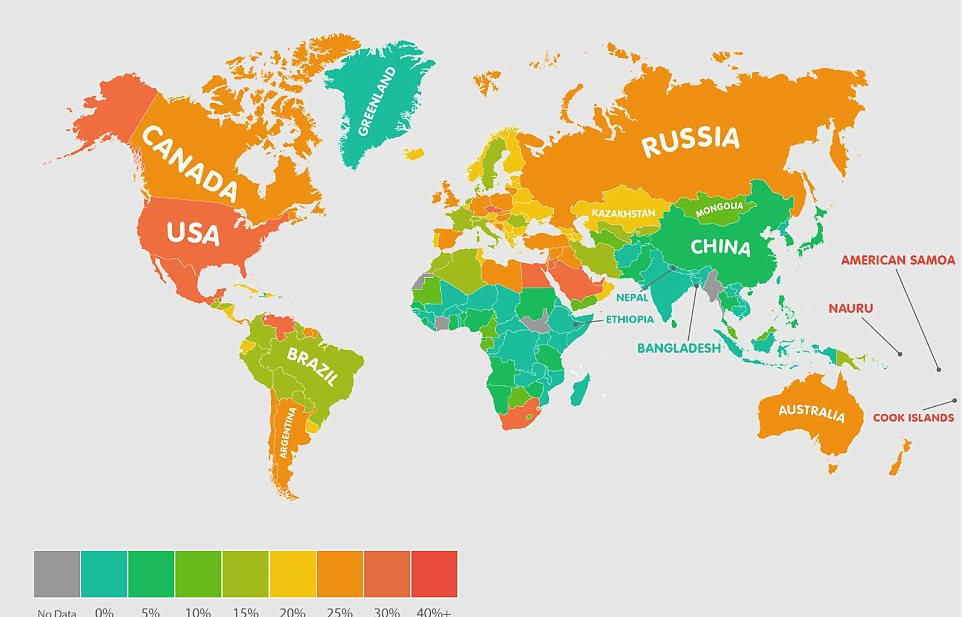 Eilanders in de Stille Oceaan zijn het dikst