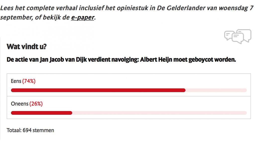 CDA-er Van Dijk boycot Albert Heijn