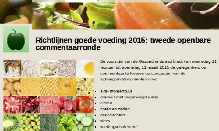 2e open commentaarronde richtlijnen Goede Voeding van start