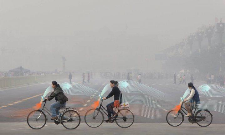 Lucht reinigen door te fietsen